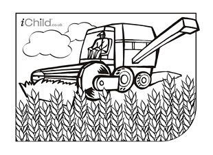 Combine Harvester Colouring in picture iChild