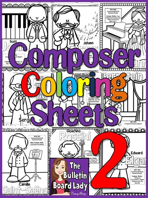 Composer Coloring Sheets 2 by The Bulletin Board Lady