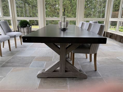 Concrete dining table from restoration hardware