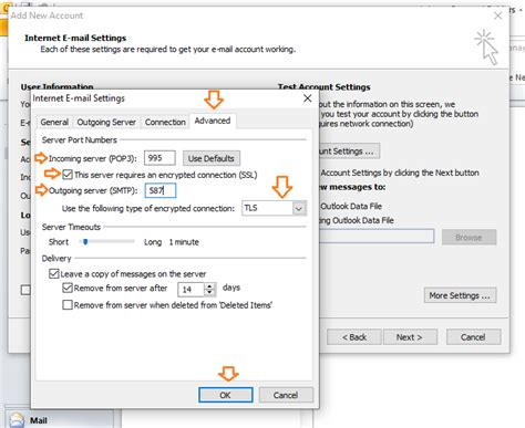 Configure Outlook for Gmail POP3 access Step by step