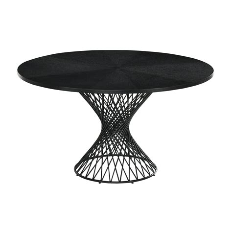 Contemporary Round Outdoor Dining Table With Metal Base