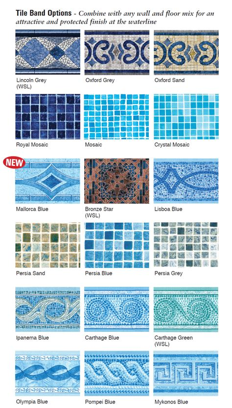 Contemporary Tile Band Liners Liners 4 Pools
