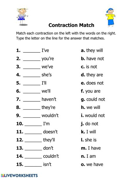 Contraction Worksheets Teaching Contractions