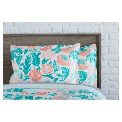 Coral Emerald Painterly Floral Comforter Set