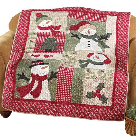 Country Snowman Quilted Patchwork Throw Collections Etc