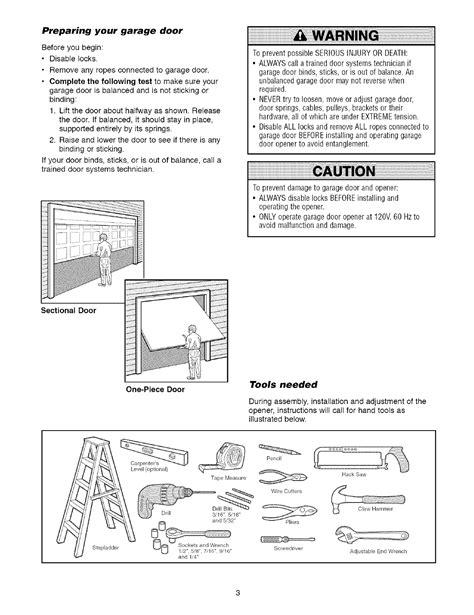 Craftsman Garage Door Opener Manual Installation Parts