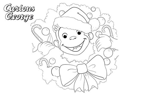 Curious George Christmas Coloring Page Happy Holidays