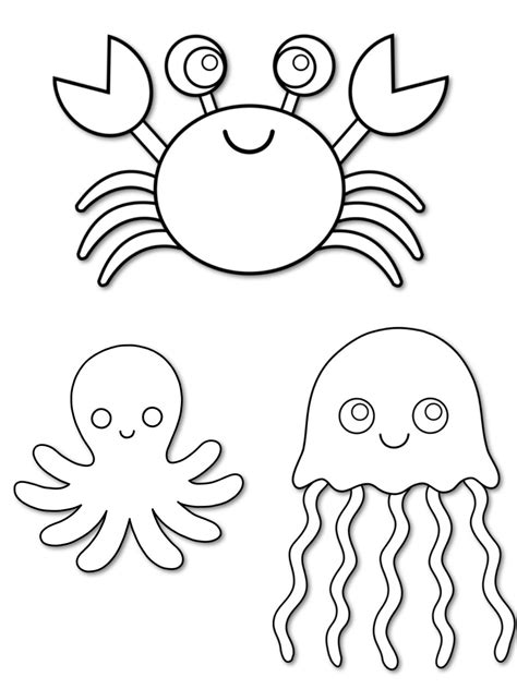 Cut Out Sea Creature Templates Under the Sea creatures
