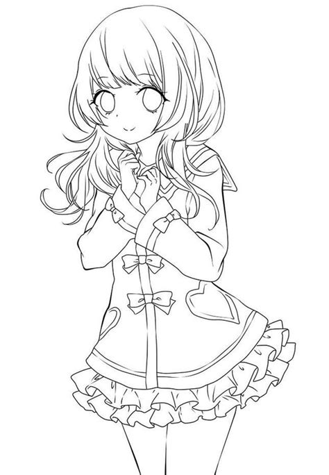 Cute Anime Girl Coloring Page Free Printable Coloring