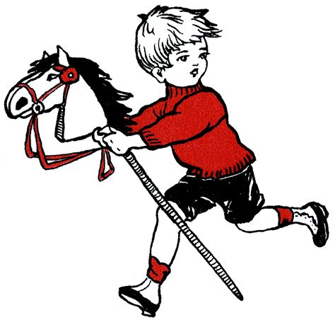 Cute Boy with Hobby Horse Drawing The Graphics Fairy