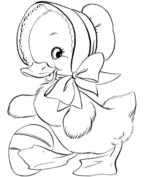 Cute Duck Coloring Page Learn Colors For Girls and Kids