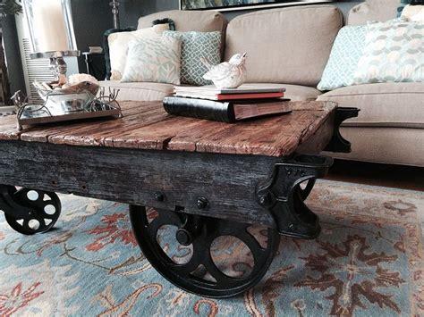 DIY Factory Cart Coffee Table Cart coffee table Coffee