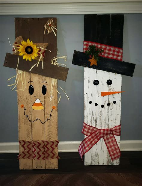 DIY Reversible Scarecrow To Snowman Pallet 4 The Love Of