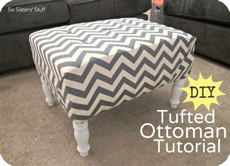 DIY Tufted Ottoman Fabric Recover Tutorial Six Sisters