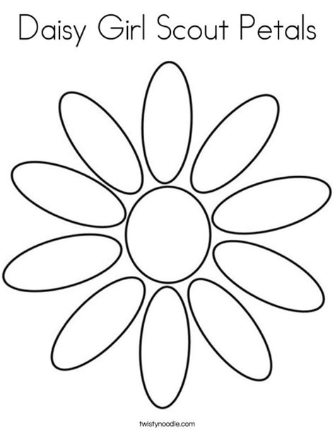 Daisy Girl Scout Petals Coloring Page Twisty Noodle