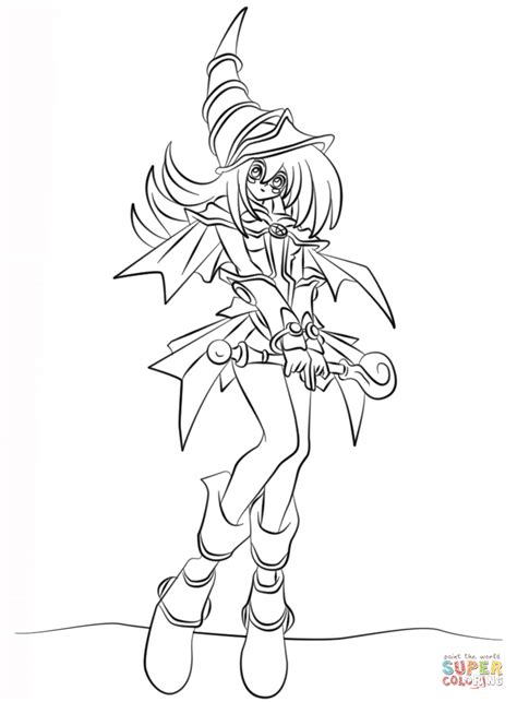 Dark Magician Girl from Yu Gi Oh coloring page Free