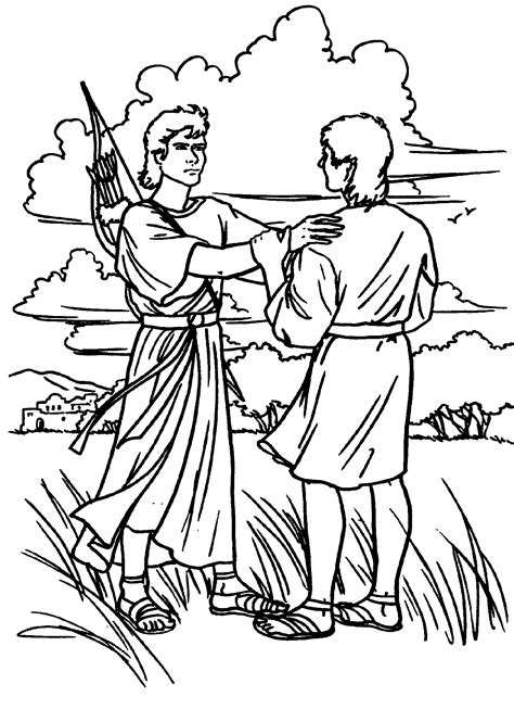 David And Jonathan Coloring Pages fablesfromthefriends