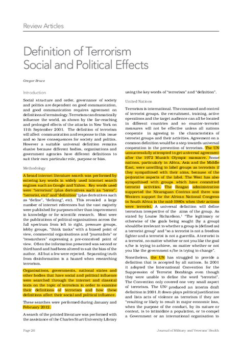 Definition of Terrorism Social and Political Effects