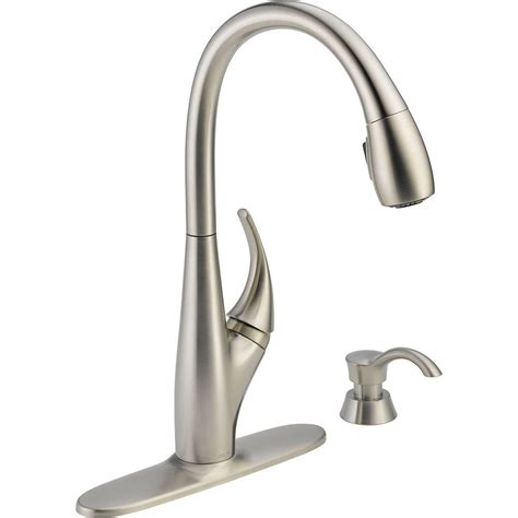 Delta DeLuca Single Handle Pull Down Sprayer Kitchen Faucet with Soap