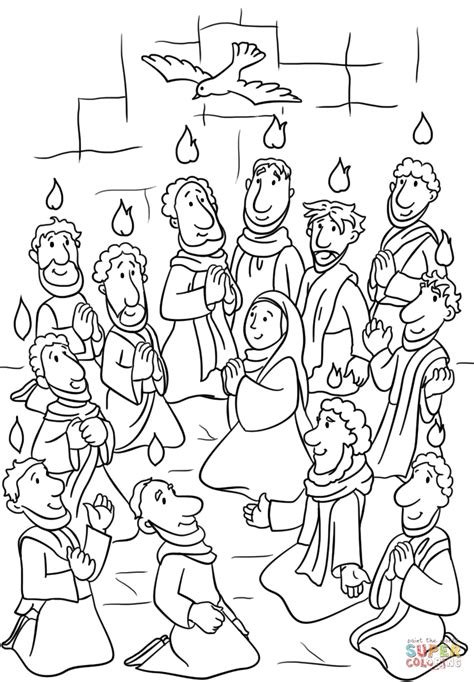 Descent of the Holy Spirit at Pentecost coloring page