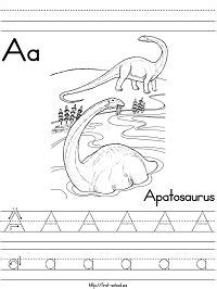 Dinosaurs and Extinct Animals Alphabet Coloring Pages