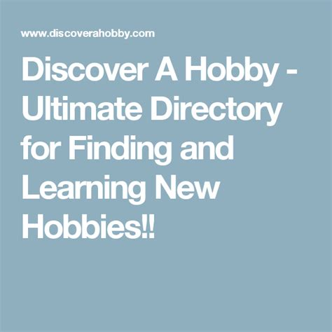 Discover A Hobby Ultimate Directory for Finding and