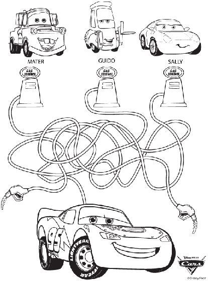 Disney Cars Maze Coloring Page crayola