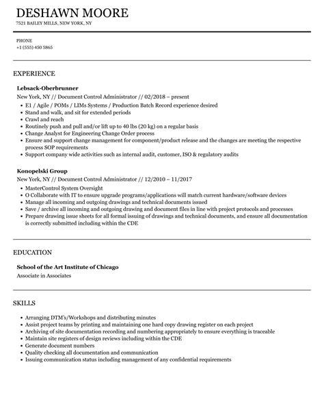 Document Control Administrator Resume Sample Three