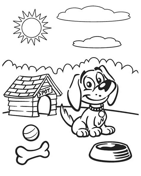 Dog on a sunny day Free Printable Coloring Pages