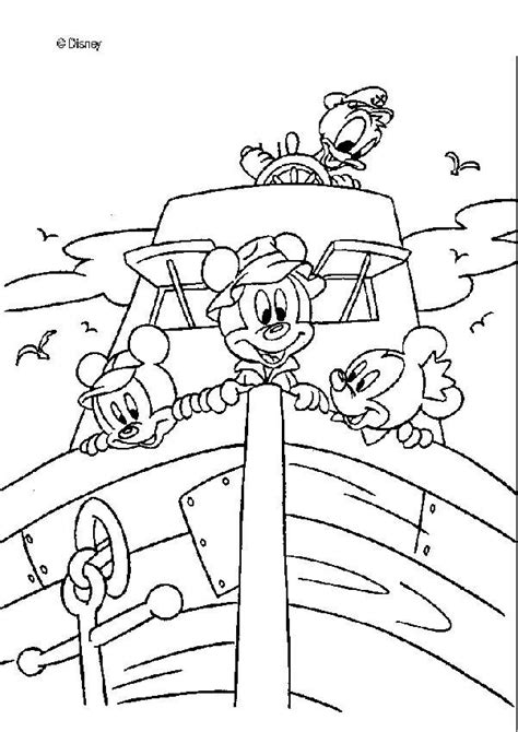 Donald duck and mickey mouse on a boat coloring pages