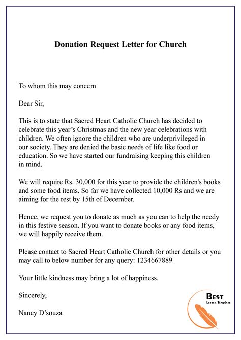 Donation Request Letter Sample Free Church Forms