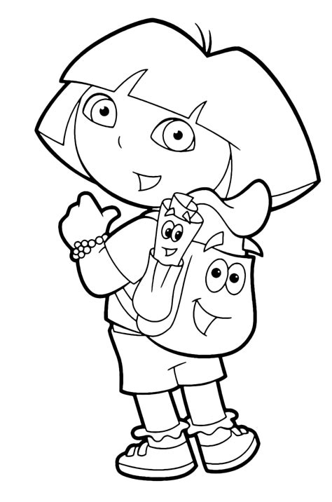 Dora the explorer map and backpack coloring pages
