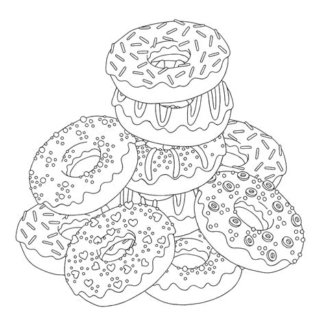 Doughnuts Coloring Page Free Doughnuts Online Coloring