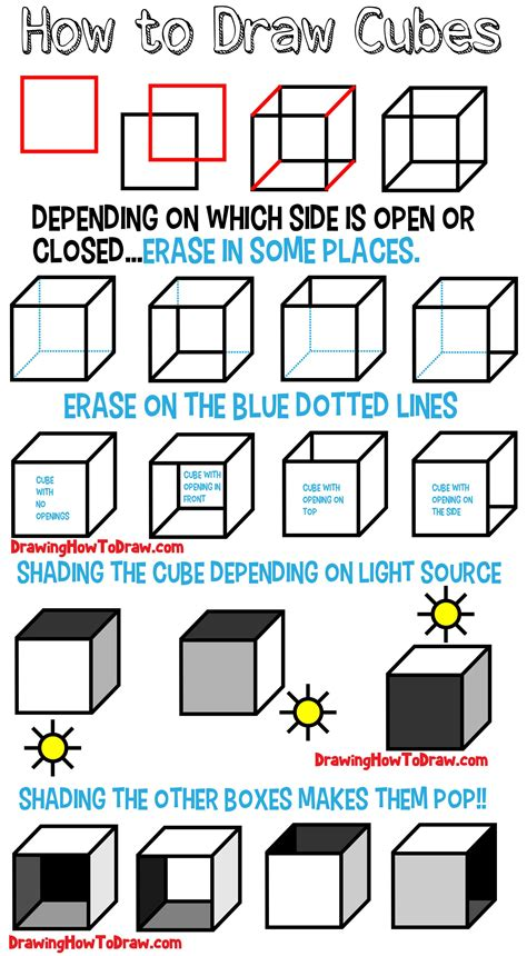 Draw Cubes Boxes with Easy Step by Step Drawing