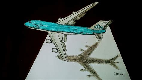 Drawing Airplane How to Draw 3D Airplane Boeing 747