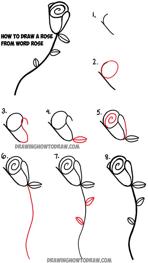 Drawing How To Draw a Rose step by step easy lesson for kids beginners cartoon rose