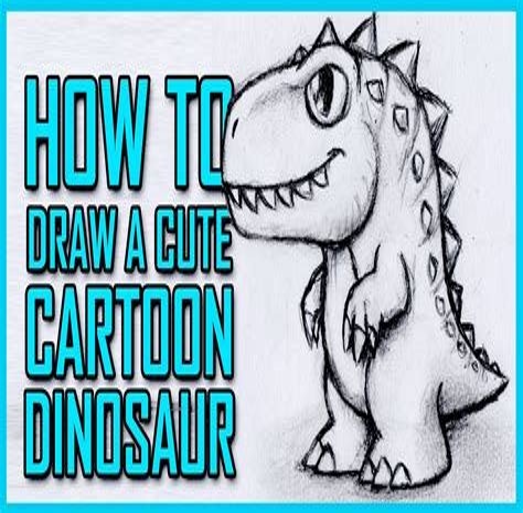 Drawing a cartoon dinosaur How to draw funny cartoons