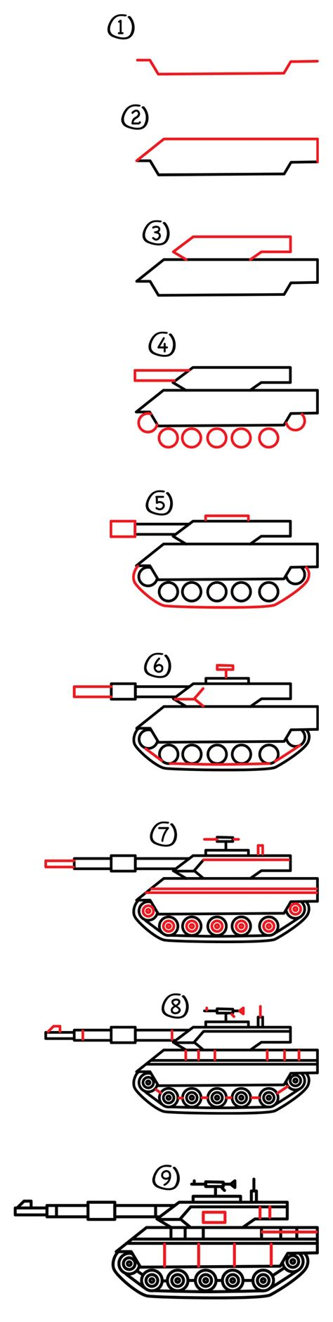 Drawing a military Tank How to Draw Step by Step