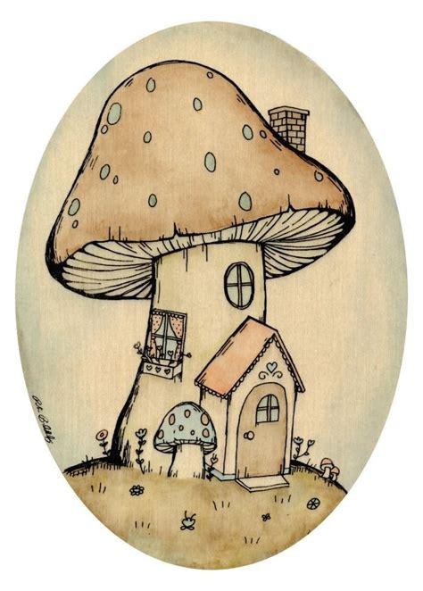Drawing of mushroom Etsy