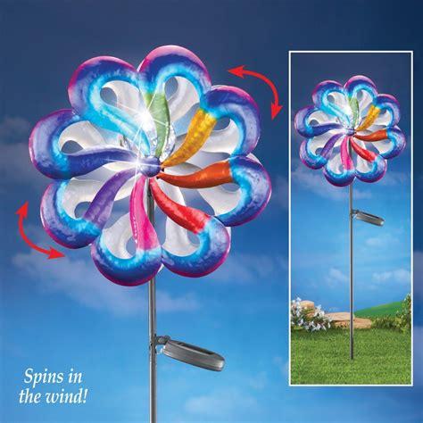Dual Flower Wind Spinner Solar Garden Stake from
