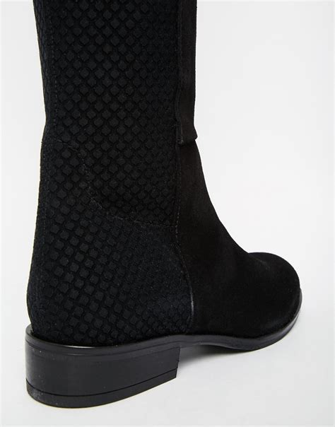 Dune Trish Blue Suede Pull On Over The Knee Boot Dune