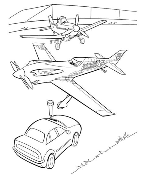 Dusty Ripslinger Planes Free Coloring Page Disney Movies