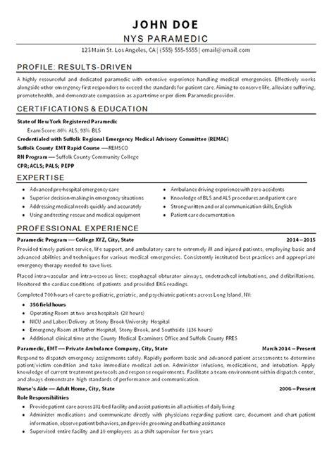 EMT Paramedic Sample Resume ezrezume