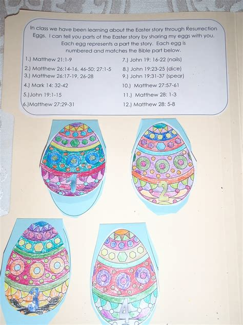 Each egg represents a part the story Each egg is