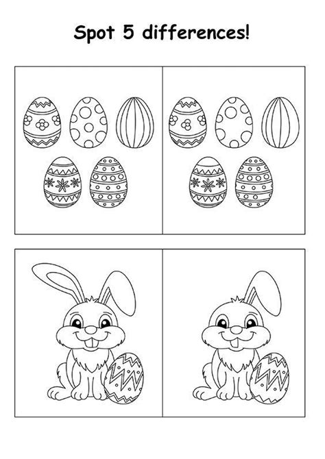 Easter Kid Spot the Difference Free Learning Games from