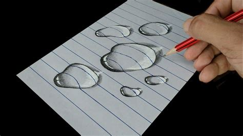 Easy 3D Art Pencil Drawing How to Draw 3D Dew Drop on