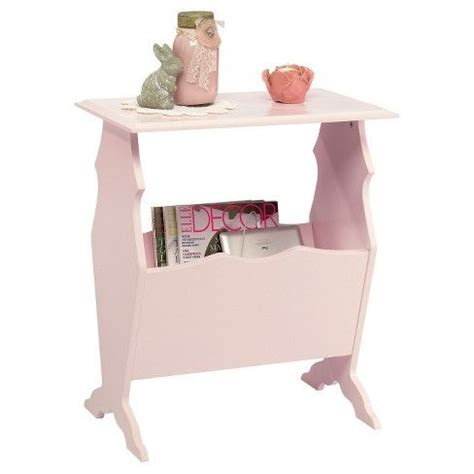 Eden Rue Side Table with Magazine Rack Pink Sauder