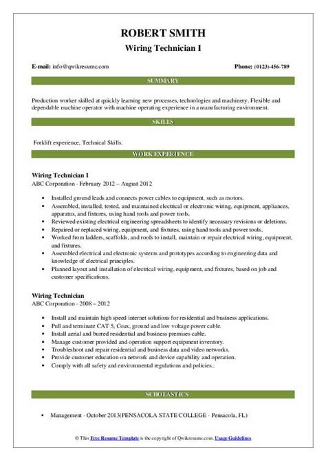 Electrical Wiring Technician Resume