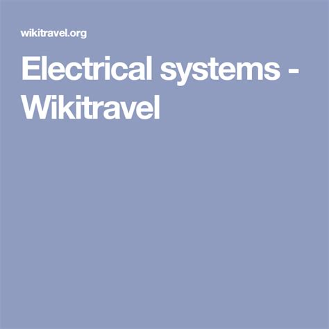 Electrical systems Wikitravel