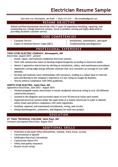 Electrician Resume Example Resume Writing Resume
